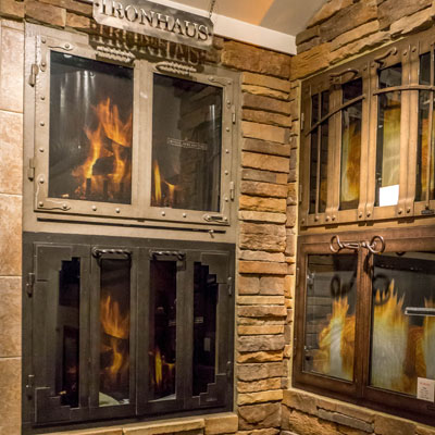 fireplace doors showroom