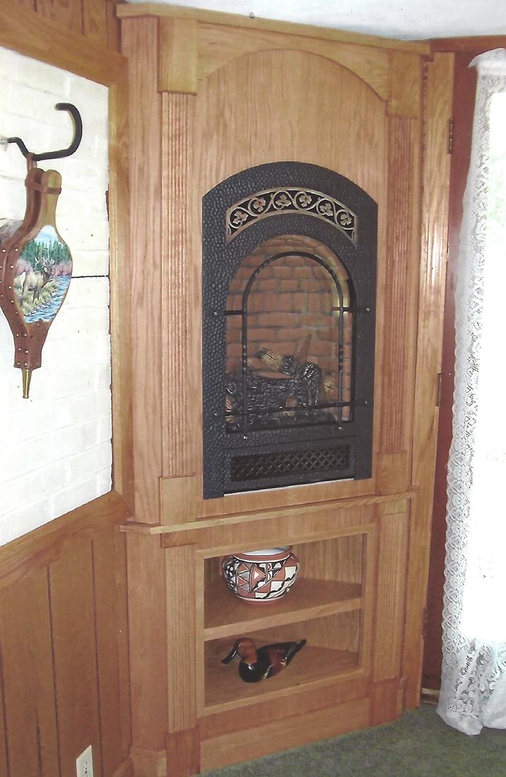 wood fireplace insert with custom fireplace surround